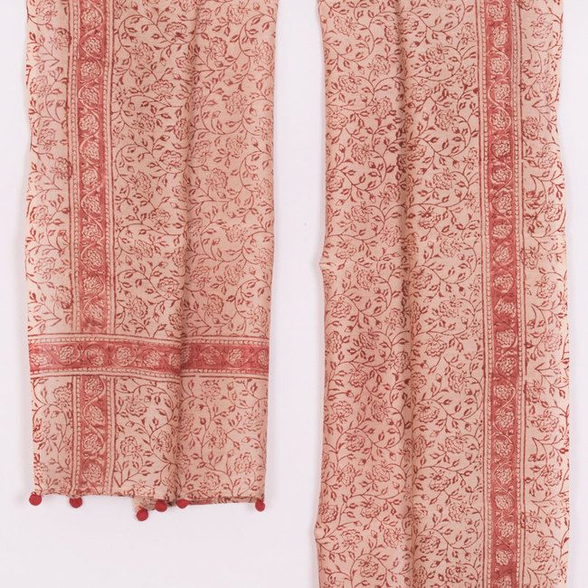 Hand Printed Kalamkari Silk Cotton Stole With Floral Motifs 10020645 - AVISHYA.COM