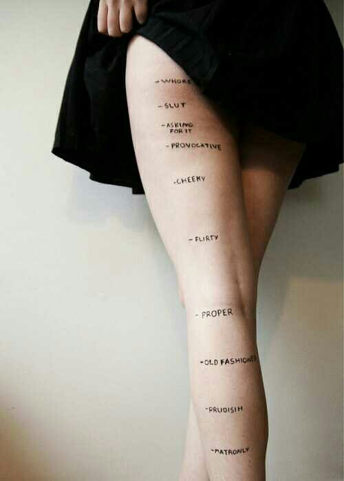 The measurements of the female leg!