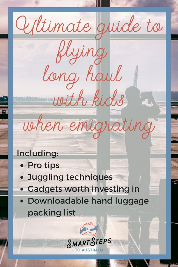 Surviving long haul travel with kids when you're emigrating. Tips and tricks to make the flight with kids as smooth as possible gadgets worth buying and what to pack in your hand luggage when travelling with kids.