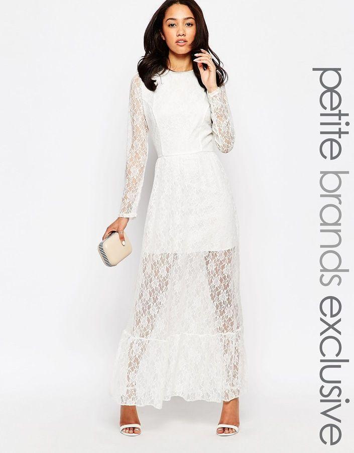 John Zack Petite Lace Overlay Maxi Dress | Lace & Crochet Bridesmaid Dresses via www.southboundbride.com #bridesmaiddresses #lace #crochet #bridesmaid #wedding