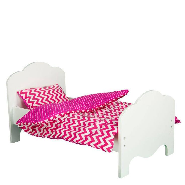"Olivia's Little World - Little Princess 18"" Doll Furniture - Single Bed & Bedding Set - Modern Chevron"