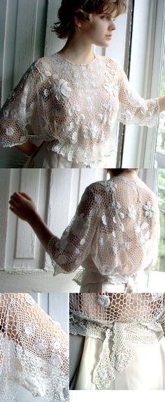 "Victorian Irish Crochet Blouse. ""Idea"", use a store bought basic crochet mesh blouse and add to it, embellishments."