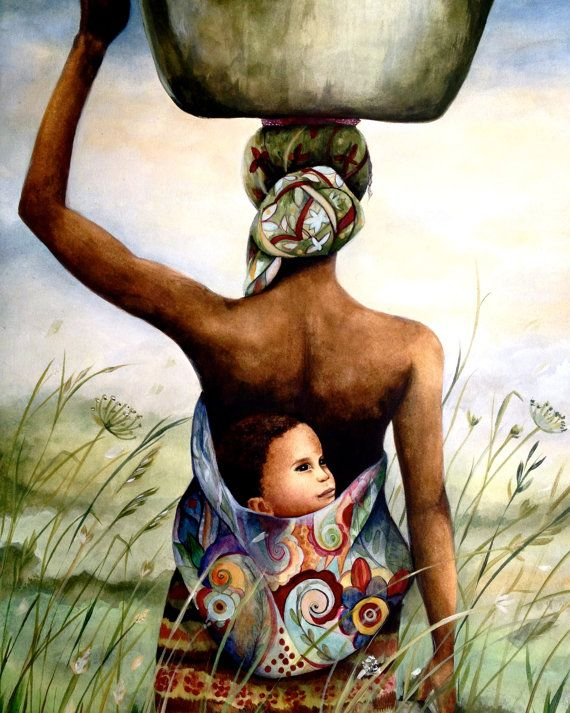 madre con su bebé en su espalda en un arte de campo de impresión