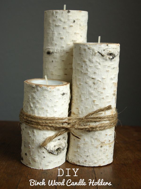 Birch Wood Candle Holders. What a great idea for cottage. Can't wait to find some birch trees. Love this.