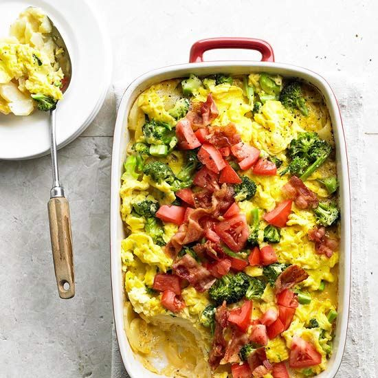 20 Easy Breakfast Casseroles including this Cheesy Potato Bake with Eggs Casserole