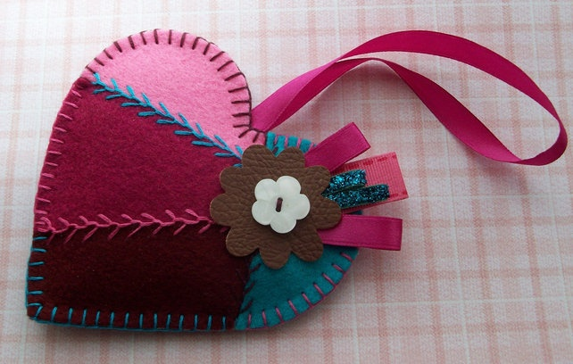 Felt Patchwork Heart - Fragranced Hanging - Baby Powder Scented Plush Heart