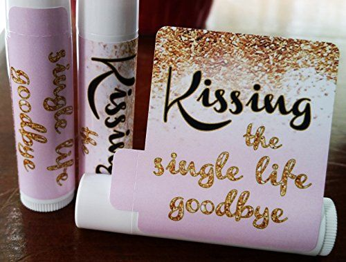 12 Bridal Shower Lip Balms - Bachelorette Party Favors - Kissing the Single Life Goodbye - Gold Glitter Bridal Shower