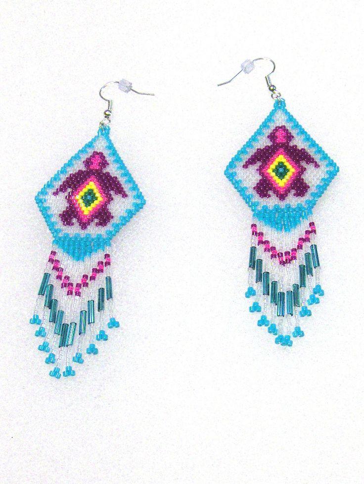 Native American Inspired Purple Turtle Hand Beaded Dangle Earrings by TheBeadedDiamond on Etsy