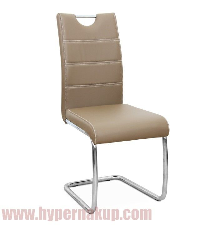 Jedálenská stolička, ekokoža cappucino/chróm, ABIRA