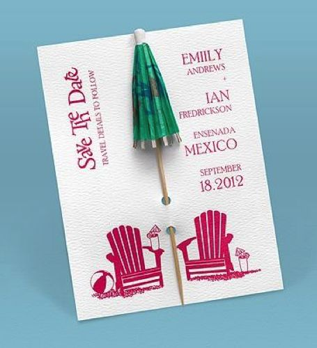 Cocktail umbrella save the date #savethedate #weddingideas