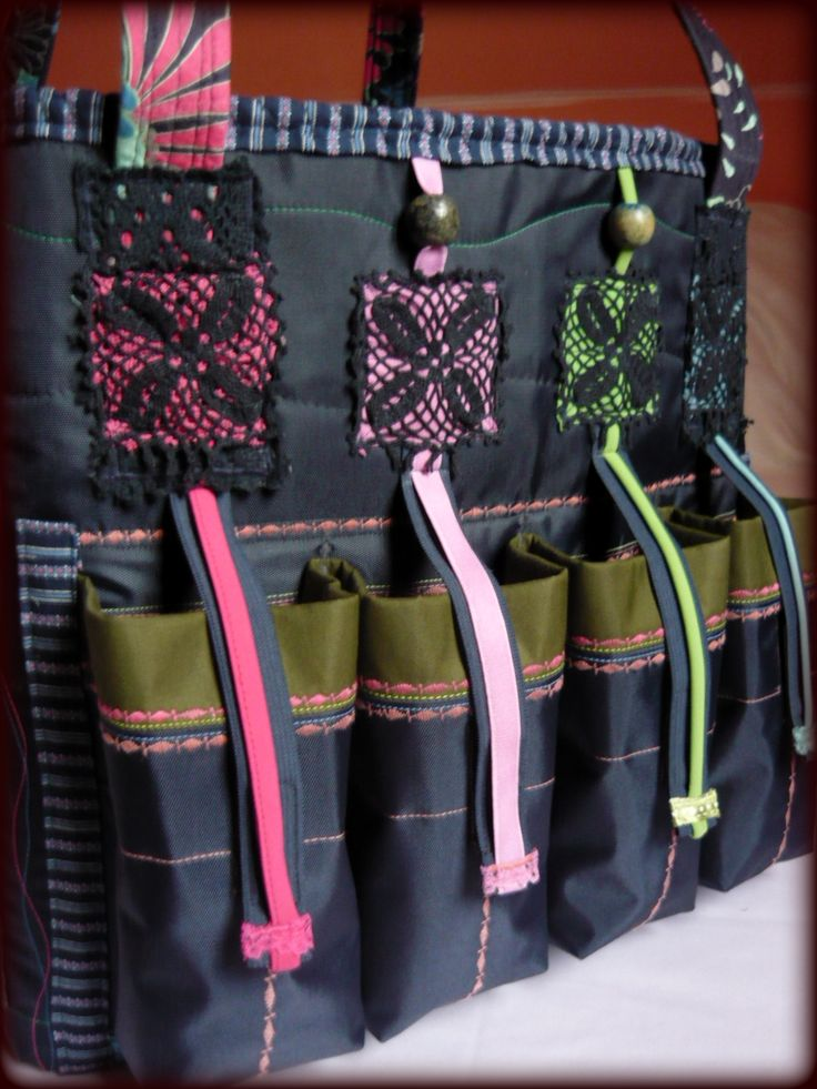 Handmade by Judy Majoros - Multicolour chrochet scrapbooking tote-bag. Recycled bag. Materials:chrochet-cordura-rubber strap-velcro-lace...