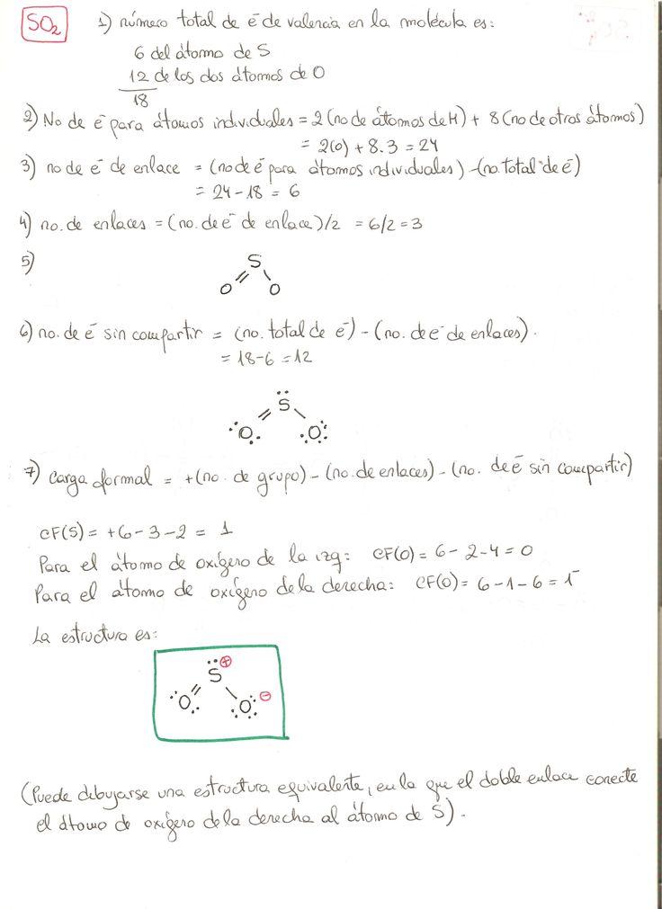 Estructura de Lewis del SO2 (dióxido de azufre)