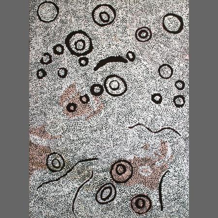 Nyumitja Laidlaw, Seven Sisters Tjukurrpa, 2008, acrylic on canvas, 102 x 76 cm., William Mora Gallery