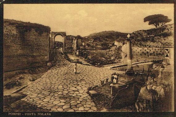 Lot of 2 Vintage Rare Early 1900s Italian Litho Postcards Ancient Pompeii Ruins House of The Vettii & Porta Nolana