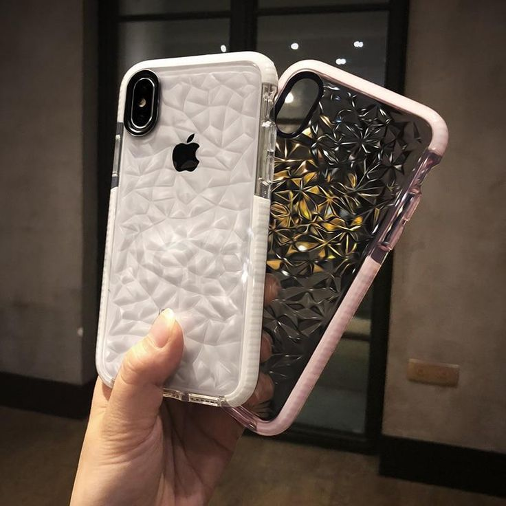 Luxury geometric diamond transparent soft cover for iphone