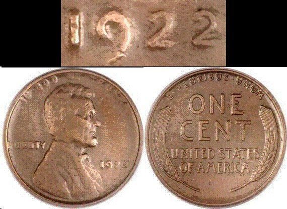 """The 1922 """"plain"""" Lincoln cent. An odd mint-error coin, actually produced in Denver but with little or no mint mark evident. Rare and valuable."""
