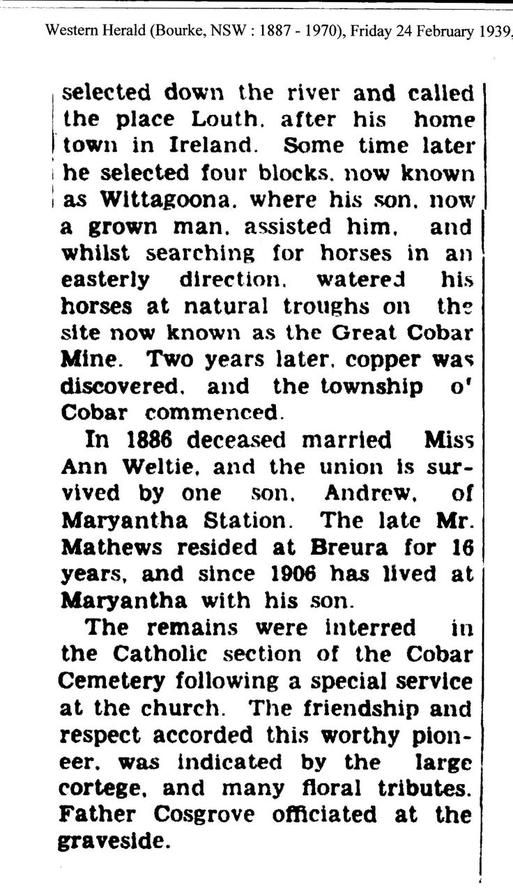 Death of Thomas Andrew Devine Mathews 1939, Maryantha, son of Old T.A. Mathews. Part 2