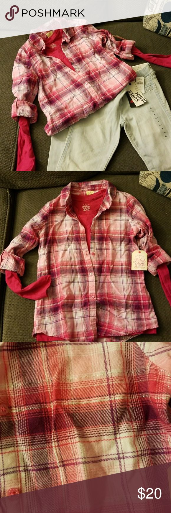 Little Girls Jeans Set Disclaimer...items can be purchased separately.  Cotton plaid long sleeve top along with matching short sleeve top. Capri jeans with silver stick on detail. Girls size 8. Shirt by Faded Glory can be purchased alone for $6. Pants by Gap can be purchased alone for $15. Matching Sets