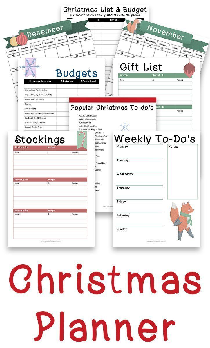christmas printables and budget planner planner printouts