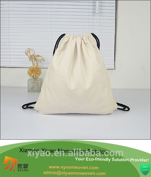 Plain Blank Cotton String Gym Bag Backpack Cotton Drawstring Bags