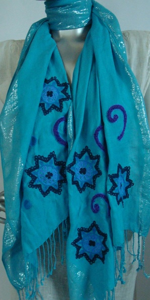 Viscose  Stoles With Embroidery Work and silver lurex