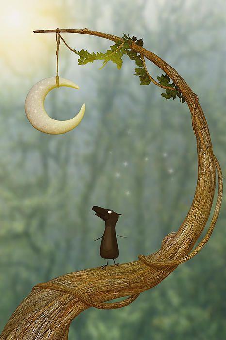 Raven Loves The Moon - Whimsical art <3