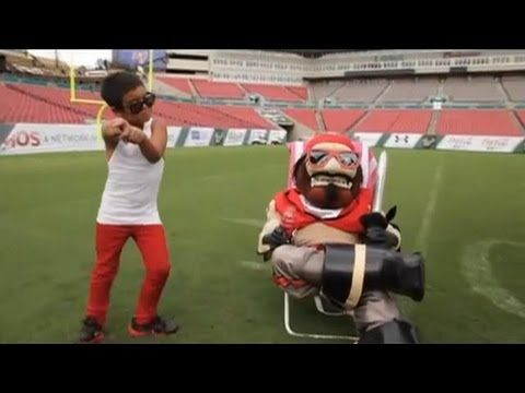 Captain Fear & Tampa Bay Buccaneers Cheerleaders - This is how we  Gangnam Style in Florida.