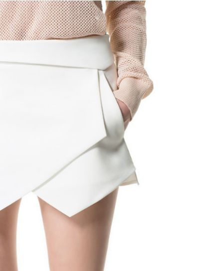 White Asymmetrical Geometric Pockets Shorts - Sheinside.com Mobile Site
