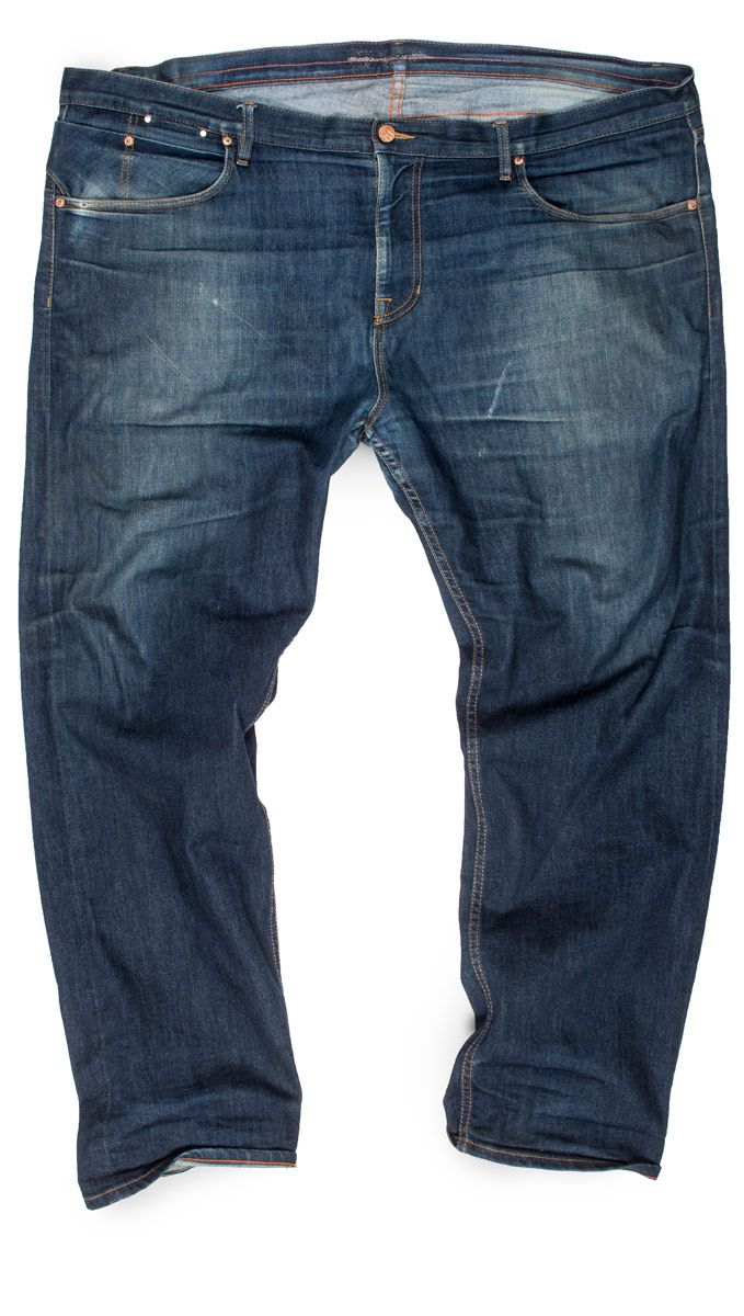 Size 48 selvedge raw denim faded jeans with stretch & taper