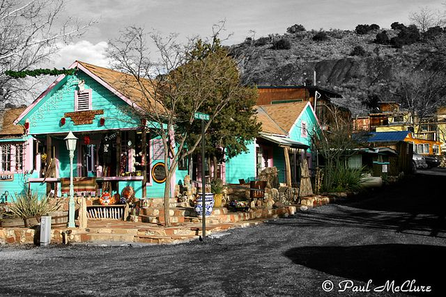 Madrid, NM. Cute, little recovered ghost town just outside of Albuquerque. So many craft stores and a few little restaurants. Great place to stop while traveling!