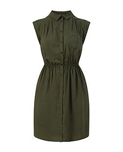 Khaki (Green) Khaki High Collar Shirt Dress | 320624734 | New Look
