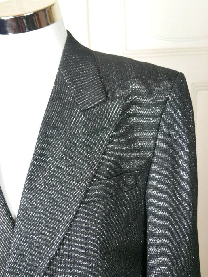 Italian Vintage Black Silver Short Tuxedo Jacket, European Double-Breasted Cropped Tux Peaked Collar, Silver Metallic Blazer: Size 38 US/UK by YouLookAmazing on Etsy