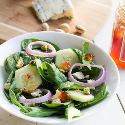 , Gorgonzola, and Pistachio Salad with Red Pepper Jelly Vinaigrette ...