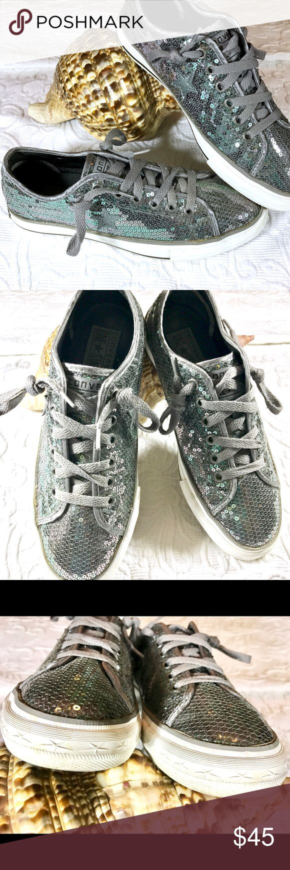 Mermaid Converse Sequin Sparklers Want some spring and summer sparkle? Trip the light fantastic with these gorgeous turquoise green and silvery sequin Converse. Great glam sneaks! Converse Shoes Sneakers