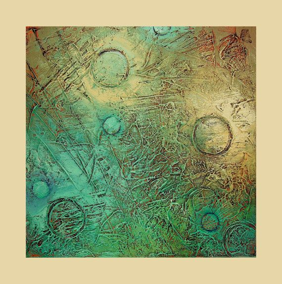 Abstract Acrylic Painting Original Fine Art-aqua taupe- Titled..Nova 2.size.20x20 By Ava Avadon via Etsy