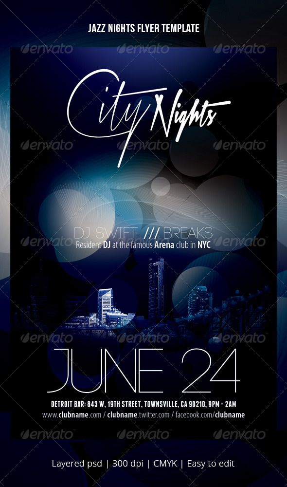 Jazz Nights Flyer Template | Flyer Template, Jazz And Print Templates