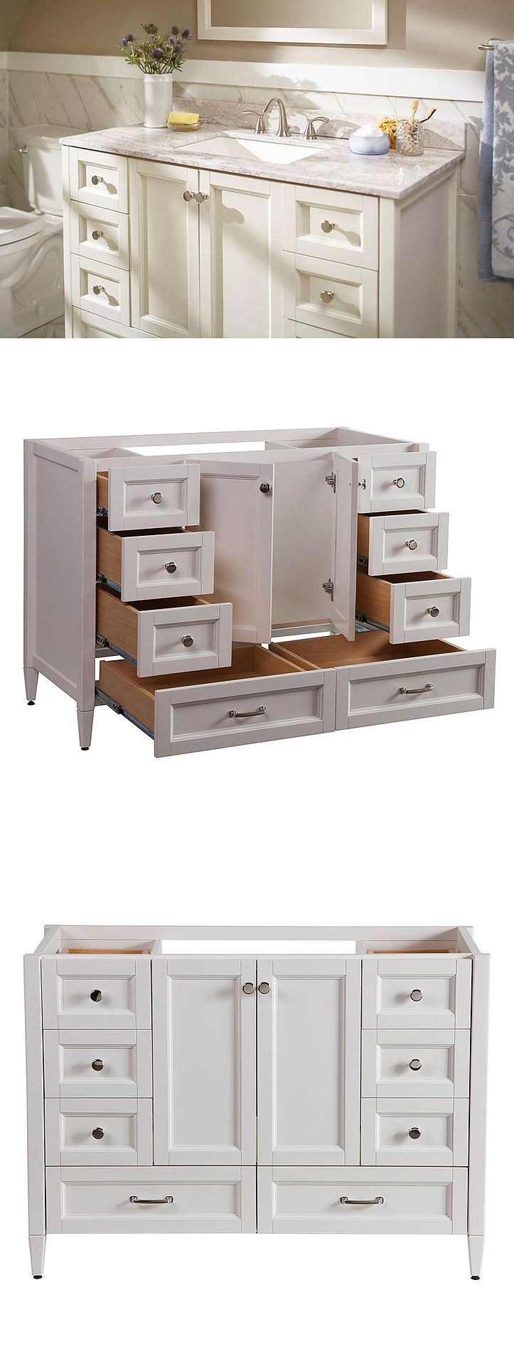 Look at all the storage this bathroom vanity provides. The Claxby features six working drawers and two large bottom drawers that provide ample storage for all of your bath essentials. It's finished in a beautiful cream color and accented with chrome cabinet hardware for an elegant look.