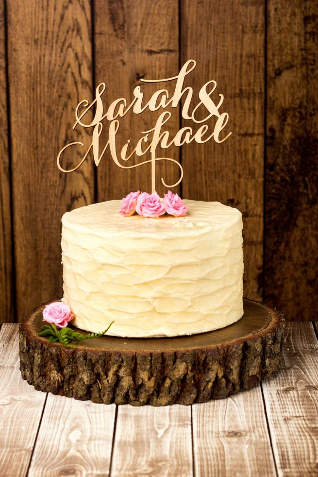 Custom Couple Name Wedding Cake Topper. Better off Wed rustics will create a custom cake topper with your names using  high quality, thick mahogany birch