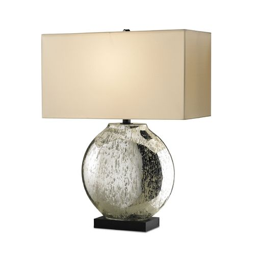 Table lamp with natural beige shade with a silver mercury base by currey and company