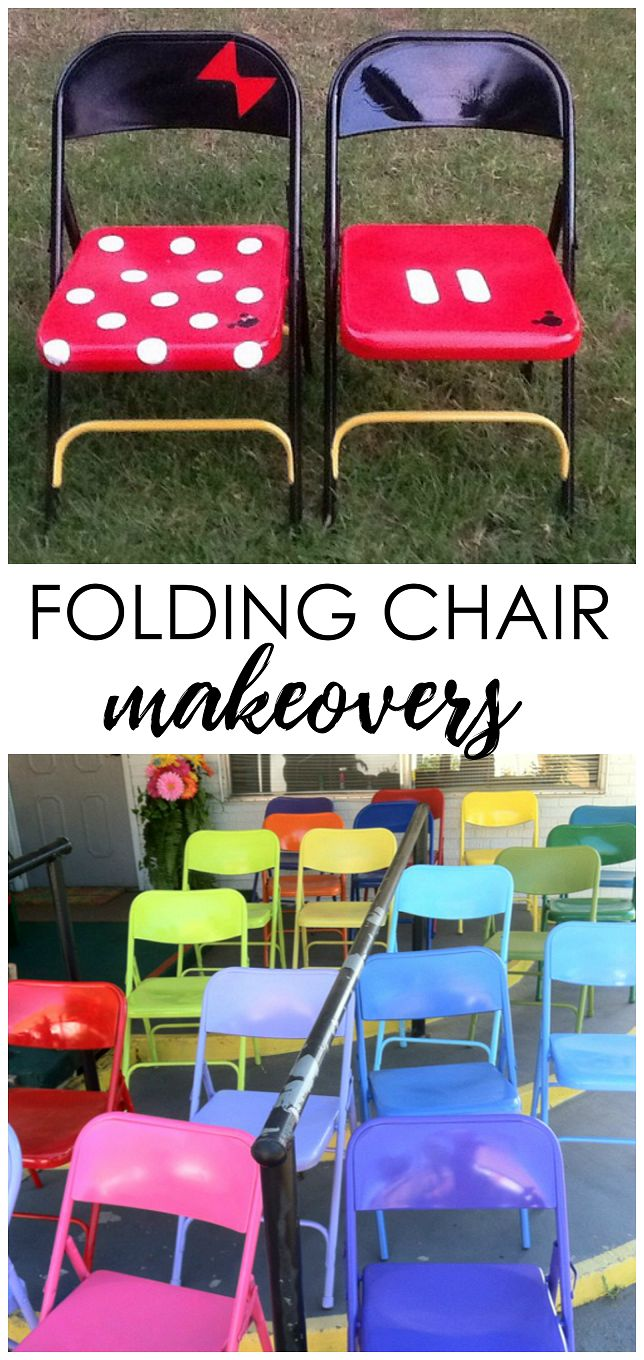Amazing metal folding chair makeovers! DIY spray paint and fabrics