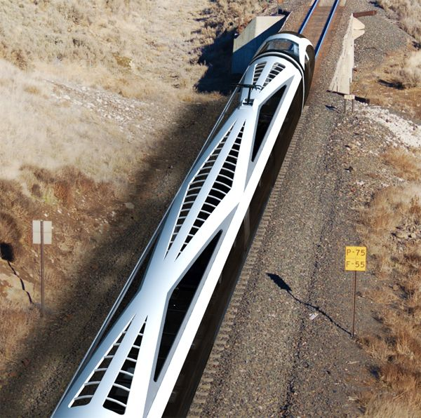 "The ""Auto Train"" aims to provide a sustainable solution for traveling distances too long to drive by car but too short to fly by plane. The fully-automated system accommodates individual passengers and their vehicles. A number of train sections are designed to easily merge and diverge from the track at specialized stations, allowing it to work like an automated taxi that drops you off at your destination. We need these everywhere!"