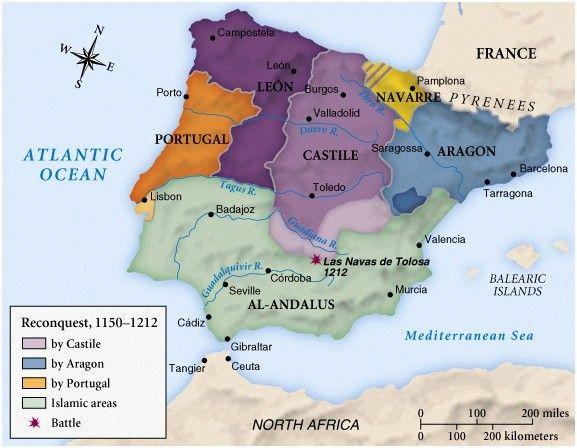 Spain: Reconquista Map 1150-1212