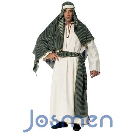 Disfraz de Árabe: Un disfraz que se puede utilizar para recrear a un Beduino, Bereber o Pastor hebreo en Navidad, a un Emir o Jeque Árabe en Carnaval o para convertirte en Mercader Medieval en Mercadillos y Fiestas Temáticas. http://www.disfracesjosmen.es/116-disfraz-arabe.html