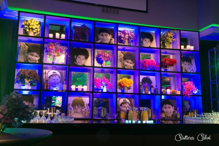 Bar Mitzvah Photo Wall with LED Lights, Cubbies with Flowers & Candles {Cristina Calvi Photography, Gala Event and Food Artistry NY} - mazelmoments.com