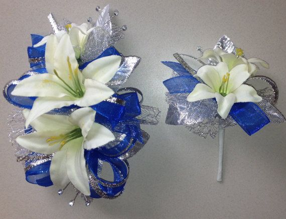 Royal Blue Corsage & Boutonniere Set Prom by FlorescenceByDesign, $26.95