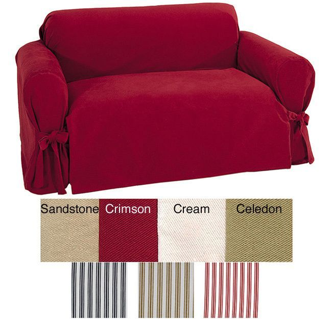classic slipcovers brushed twill loveseat slipcover red cotton solid
