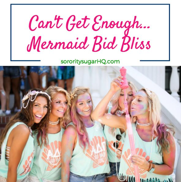 """There's nothing better than a mer-mazing bid day theme flawlessly executed down to the smallest detail. One such phenomenal bid day was created by Alpha Delta Pi at Georgia Southern University! Their """"We Mermaid for Each Other"""" theme is a joy to behold. Soak up the sugar and get inspired for your sorority's next enchanting bid day celebration! <3"""
