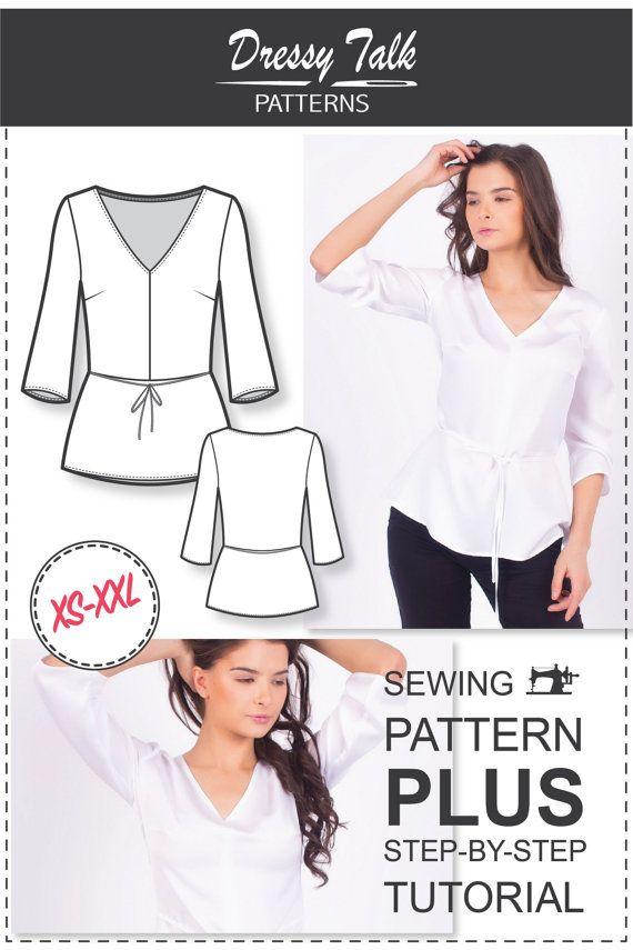 Peplum Top Pattern  V-neck Sewing Pattern  Sewing Patterns