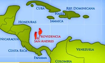 Map showing the location of the San Andres Islands