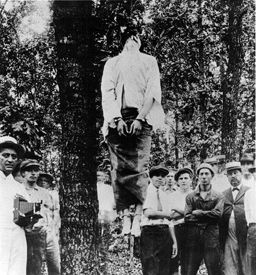 Lynching of Leo Frank, Marietta, Georgia, August 17, 1915, photo courtesy Wikipedia. 75 south bound area now in Marietta. Sad story but historical event in Georgia